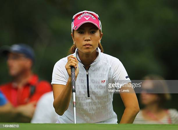 Momoko Ueda of Japan looks on during day four of the Evian Masters at the Evian Masters Golf Club on July 29 2012 in EvianlesBains France