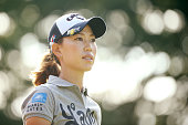 Momoko Ueda of Japan looks on during the final round of the Munsingwear Ladies Tokai Classic at the Shin Minami Aichi Country Club Mihama Course on...