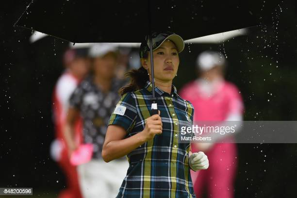 Momoko Ueda of Japan looks on during the final round of the Munsingwear Ladies Tokai Classic 2017 at the Shin Minami Aichi Country Club Mihama Course...