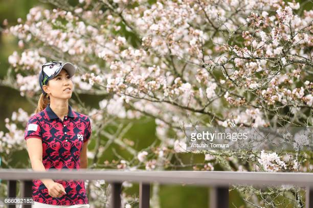 Momoko Ueda of japan looks on during the second round of the Studio Alice Open at the Hanayashiki Golf Club Yokawa Course on April 8 2017 in Miki...