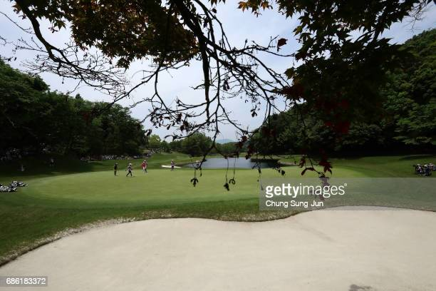 Momoko Ueda of Japan on the 9th hole during the final round of the Chukyo Television Bridgestone Ladies Open at the Chukyo Golf Club Ishino Course on...