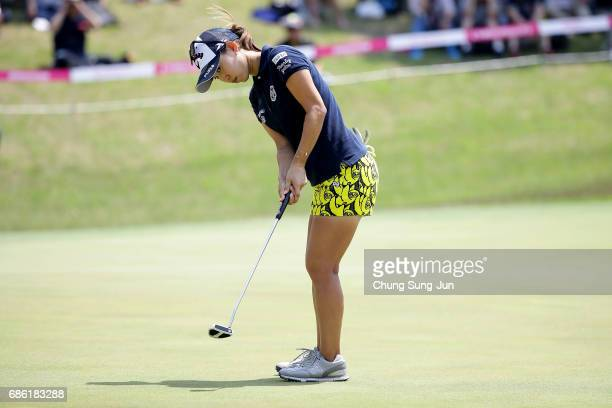 Momoko Ueda of Japan plays a putt on the 14th green during the final round of the Chukyo Television Bridgestone Ladies Open at the Chukyo Golf Club...