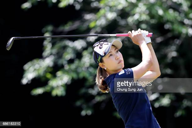 Momoko Ueda of Japan plays a tee shot on the 5th hole during the final round of the Chukyo Television Bridgestone Ladies Open at the Chukyo Golf Club...