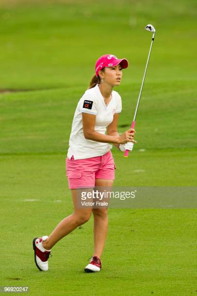 Momoko Ueda of Japan plays an approach shot to the 2nd green during the final round of the Honda PTT LPGA Thailand at Siam Country Club on February...