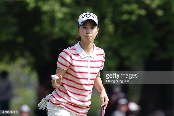 Momoko Ueda of Japan reacts after a putt in the second round during the KKT Cup Vantelin Ladies Open at the Kumamoto Airport Country Club on April 18...