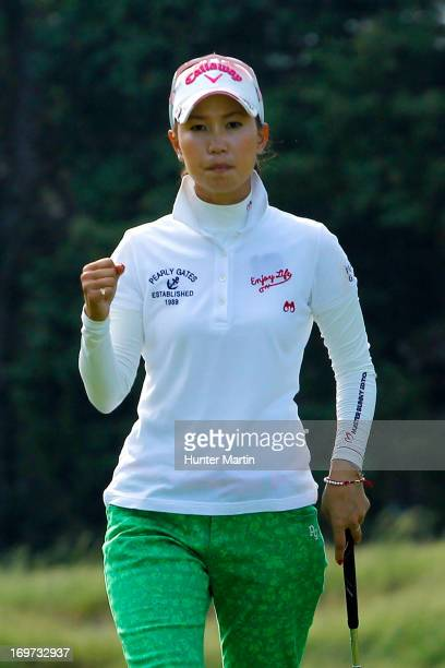Momoko Ueda of Japan reacts after making her birdie putt on the 12th hole during round one of the ShopRite LPGA Classic Presented by Acer at Stockton...