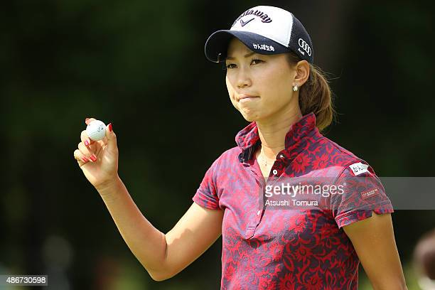 Momoko Ueda of Japan reacts during the second round of the Golf 5 Ladies Tournament 2015 at the Mizunami Country Club on September 5 2015 in Mizunami...