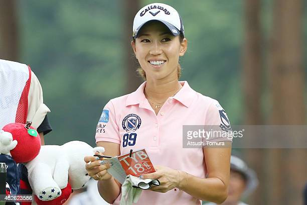 Momoko Ueda of Japan smiles during the second round of the Daito Kentaku Eheyanet Ladies 2015 at the Narusawa Golf Club on August 1 2015 in Narusawa...