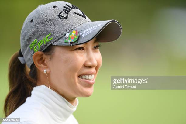 Momoko Ueda of Japan smiles during the second round of the Nobuta Group Masters GC Ladies at the Masters Golf Club on October 20 2017 in Miki Hyogo...