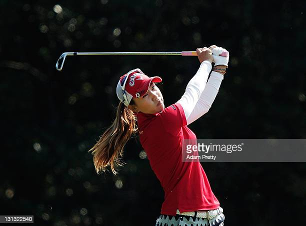 Momoko Ueda of Japan tees off during the first round of the Mizuno Classic at the Kintetsu Kashikojima Country Club on November 4 2011 in Shima Japan