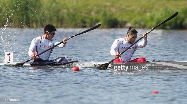 Momotaro Matsushita and Hiroki Watanabe of Japan compete in the men's kayak double 200m heat during day two of the ICF Canoe Sprint World Cup 2012 at...