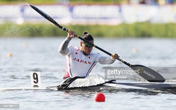 Momotaro Matsushita of Japan competes in the men's kayak single 200m semifinal during day two of the ICF Canoe Sprint World Cup 2012 at Malta Regatta...