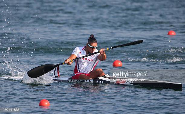 Momotaro Matsushita of Japan competes in the Men's Kayak Single 200m Canoe Sprint Final B on Day 15 of the London 2012 Olympic Games at Eton Dorney...