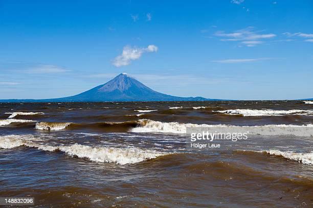 Momotombo volcano on shores of Lago de Managua lake.