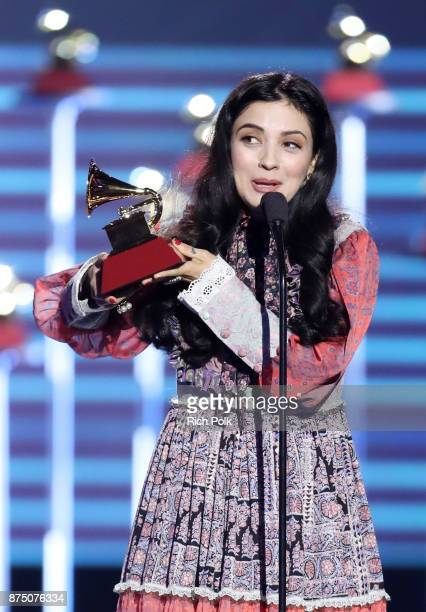 Mon Laferte accepts Best Alternative Song for 'Amarrame' onstage at the Premiere Ceremony during the 18th Annual Latin Grammy Awards at the Mandalay...