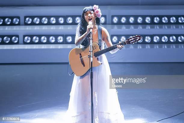Mon Laferte performs during a concert at Auditorio Nacional on September 30 2016 in Mexico City Mexico