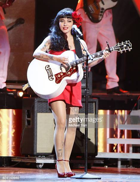 Mon Laferte performs onstage during the 17th Annual Latin Grammy Awards held at TMobile Arena on November 17 2016 in Las Vegas Nevada