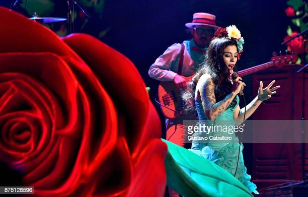 Mon Laferte performs onstage during The 18th Annual Latin Grammy Awards at MGM Grand Garden Arena on November 16 2017 in Las Vegas Nevada