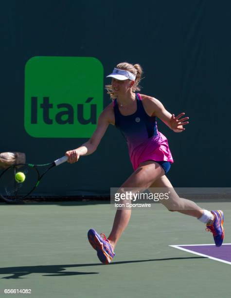 Mona Barthel during the qualifying round of the 2017 Miami Open on March 20 at Tennis Center at Crandon Park in Key Biscayne FL
