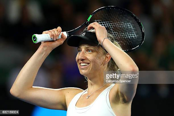Mona Barthel of Germany celebrates winning her third round match against Ashleigh Barty of Australia on day five of the 2017 Australian Open at...