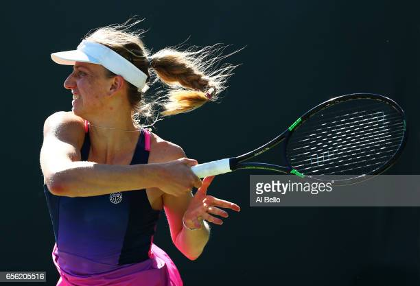 Mona Barthel of Germany in action against Taylor Townsend during Day 2 of the Miami Open at Crandon Park Tennis Center on March 21 2017 in Key...