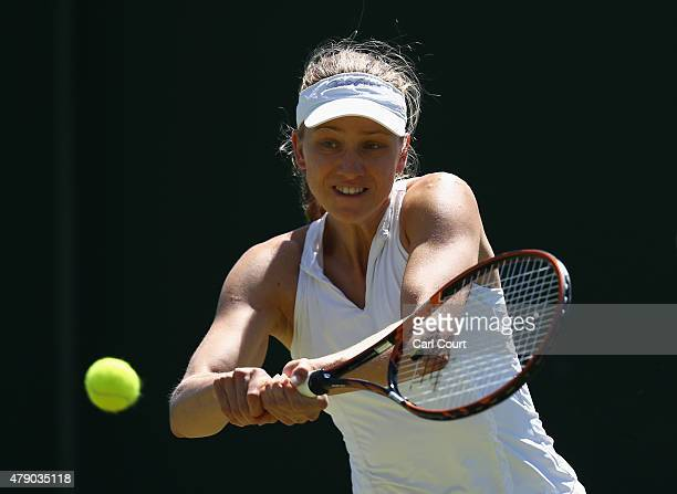 Mona Barthel of Germany in action in her Ladies Singles first round match against Anastasia Pavlyuchenkova of Russia during day two of the Wimbledon...