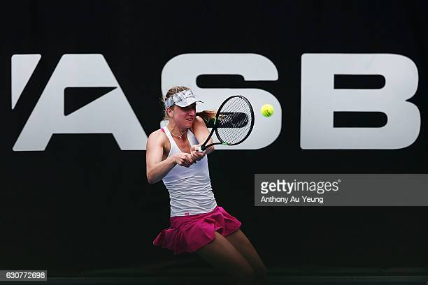 Mona Barthel of Germany plays a backhand in her match against Dalila Jakupovic of Slovakia on day one of the ASB Classic on January 2 2017 in...