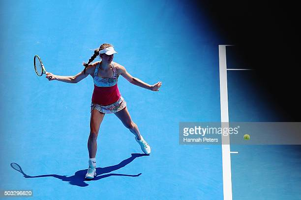 Mona Barthel of Germany plays a forehand during her first round match against Svetlana Kuznetsova of Russia during day one of the 2016 ASB Classic at...