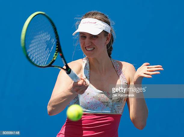 Mona Barthel of Germany plays a forehand in her first round match against Vania King of the United States during day two of the 2016 Australian Open...