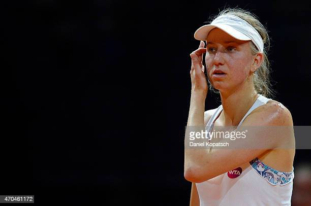 Mona Barthel of Germany reacts during her first round match against Carina Witthoeft of Germany on day one of the Porsche Tennis Grand Prix at...