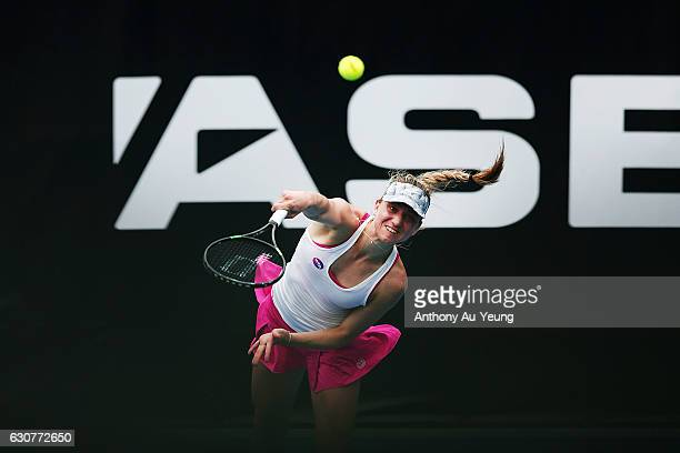 Mona Barthel of Germany serves in her match against Dalila Jakupovic of Slovakia on day one of the ASB Classic on January 2 2017 in Auckland New...