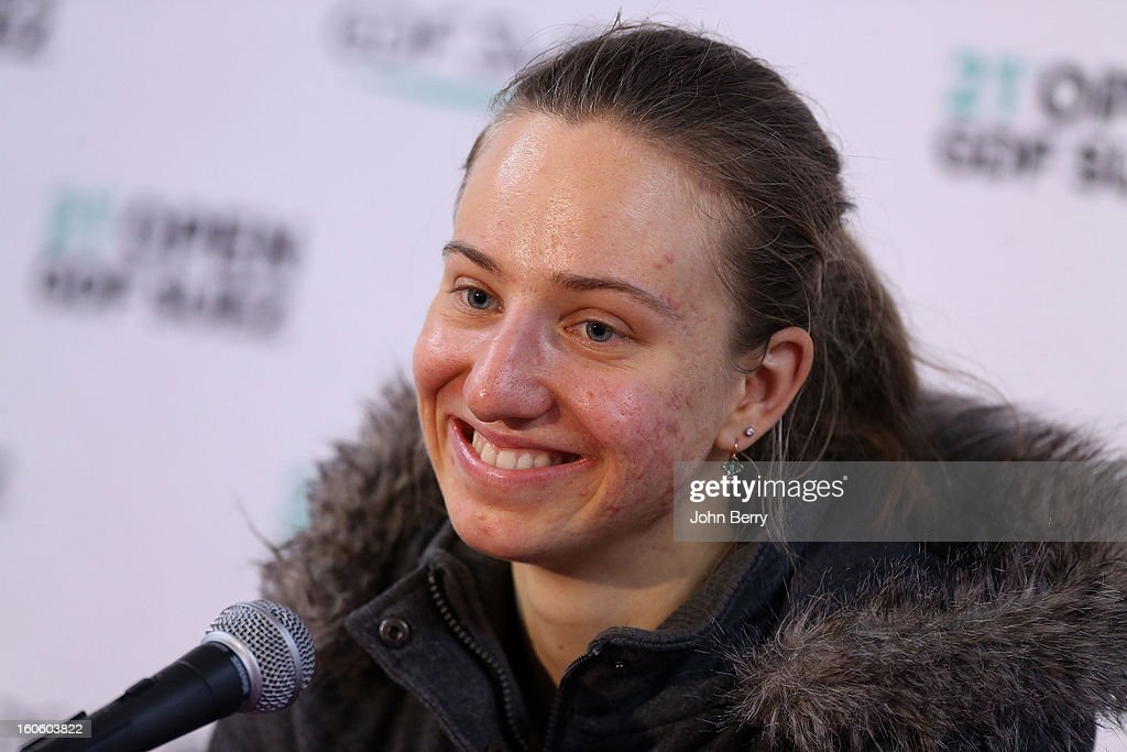 <a gi-track='captionPersonalityLinkClicked' href=/galleries/search?phrase=Mona+Barthel&family=editorial&specificpeople=7794496 ng-click='$event.stopPropagation()'>Mona Barthel</a> of Germany speaks to the press after the final of the Open GDG Suez 2013 at the Stade Pierre de Coubertin on February 3, 2013 in Paris, France.