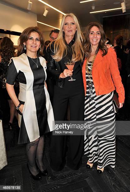 Mona Khashoggi Amanda Wakeley and Ghazwa AbuSuud attend the opening of the new Amanda Wakeley store on January 30 2014 in London England