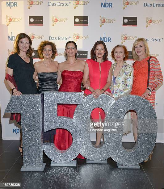 Mona Klare Isabel Varell Sandra Speichert Angela Roy Brigitte Antonius and Saskia Valencia attend 1500th episode celebration event at Palais Hotel...