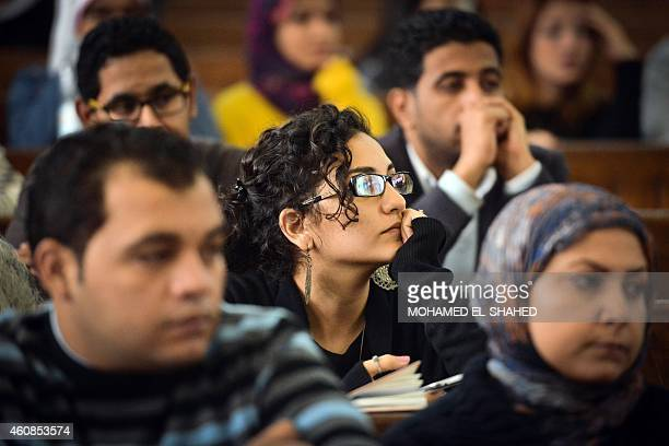 Mona Soueif the sister of Alaa Abdel Fattah attends the retrial of her son and 24 others in the courtroom in Cairo on December 27 2014 The defendants...