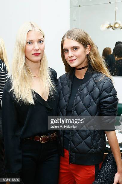 Mona Walravens and Dolores Doll attend the Dinner for Dodo x Colette hosted by Lolita Jacobs at Crudus on November 15 2016 in Paris France