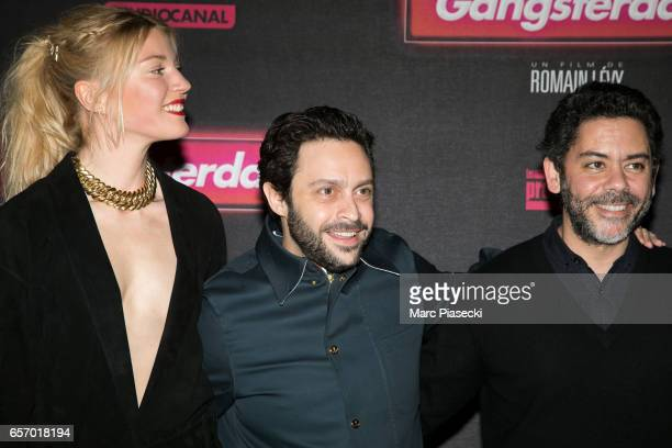 Mona Walravens Romain Levy and Manu Payet attend the 'Gangsterdam' Premiere at Le Grand Rex on March 23 2017 in Paris France