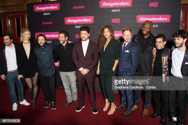 Mona Walravens Romain Levy Manu Payet Kev Adams Manon Azem Come Levin Hubert Kounde and Ido Mosseri attend the 'Gangsterdam' Paris Premiere at Le...