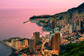 Monaco, aerial view at dusk