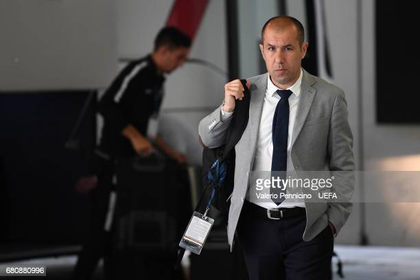 Monaco FC head coach Leonardo Jardim walks to the dressing room prior to the UEFA Champions League Semi Final second leg match between Juventus and...