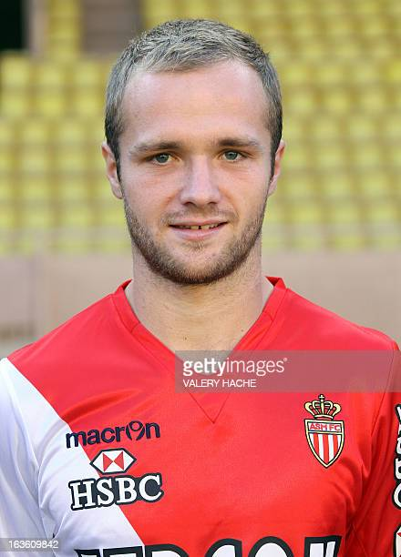 Monaco football club's French forward Valere Germain poses as part of the official picture of the 20112012 season on September 28 2011 at the Louis...