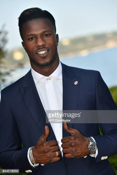 AS Monaco football club's newly recruited Spanish forward Keita Balde poses on September 7 2017 in Monaco / AFP PHOTO / YANN COATSALIOU