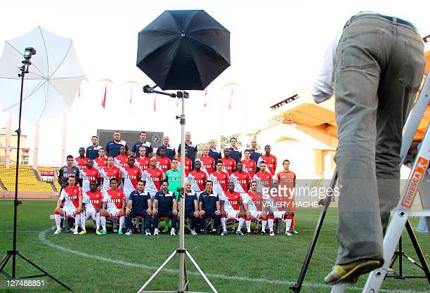 Monaco football club's players pose for the official picture of the 20112012 season on September 28 2011 at the Louis II stadium in Monaco 1st row...
