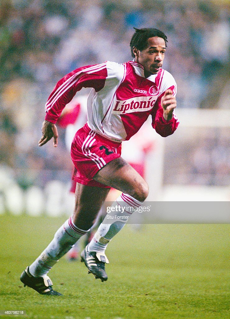 Monaco forward <a gi-track='captionPersonalityLinkClicked' href=/galleries/search?phrase=Thierry+Henry&family=editorial&specificpeople=167275 ng-click='$event.stopPropagation()'>Thierry Henry</a> in action during a UEFA Cup Quarter Final 1st leg match between Newcastle United and Monaco at St James' Park on March 4, 1997 in Newcastle Upon Tyne, England.