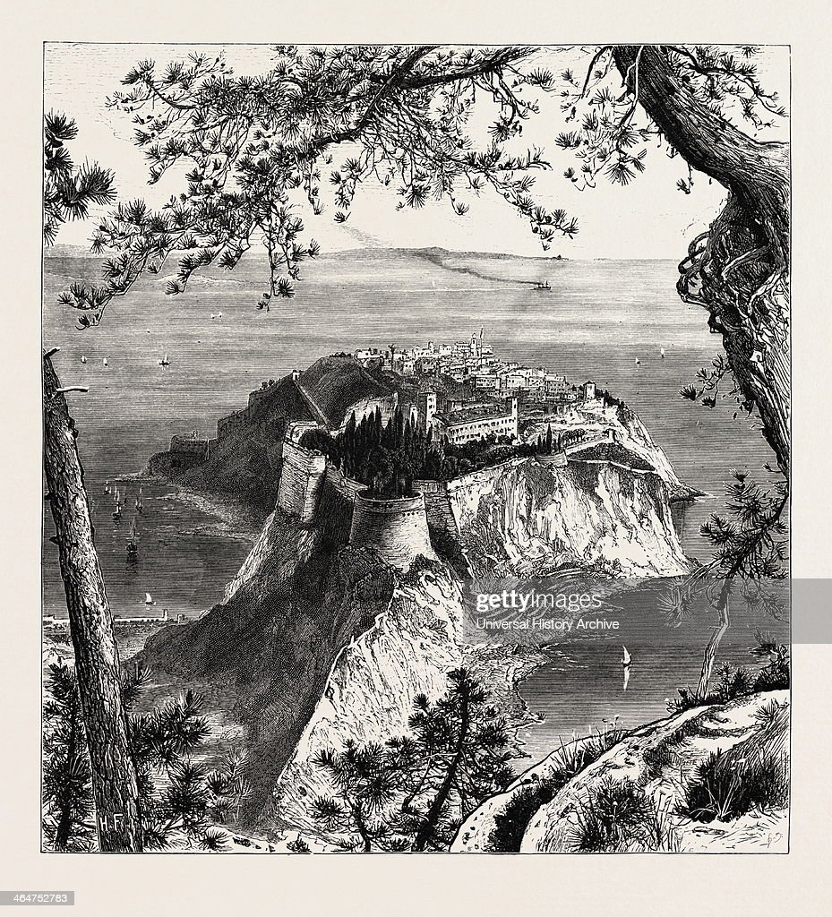 Monaco From The Mainland The Cornice Road 19th Century Engraving
