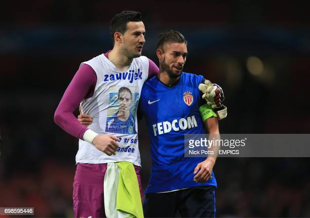 Monaco goalkeeper Danijel Subasic and Yannick Ferreira Carrasco after the game