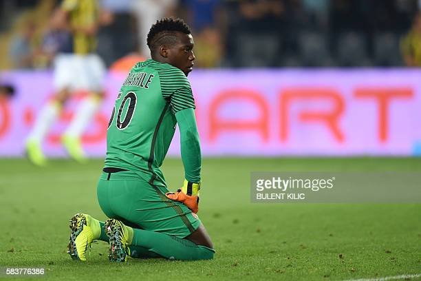 Monaco' goalkeeper Loic Badiashile reacts after Fenerbahce's goal during the Champions League Third qualifying round game between Fenerbahce and...
