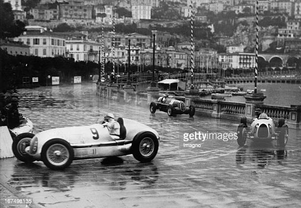 Louis Chiron and Bernd Rosemeyer and Guiseppo Farina April 13th 1936 Photograph Grand Prix in Monaco Im Bild Louis Chiron und Bernd Rosemeyer und...