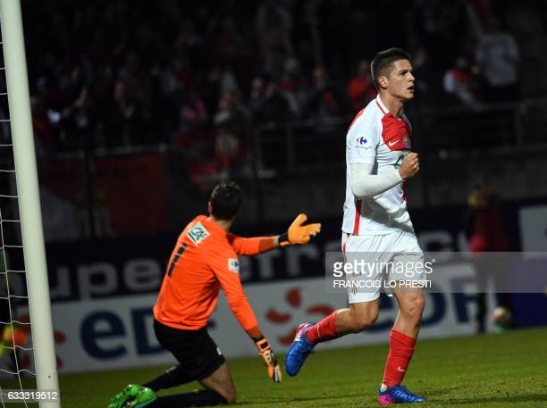 Monaco Guido Marcelo Carrillo celebrates after scoring a goal during the French Cup football match between Chambly and Monaco on February 1 2017 at...