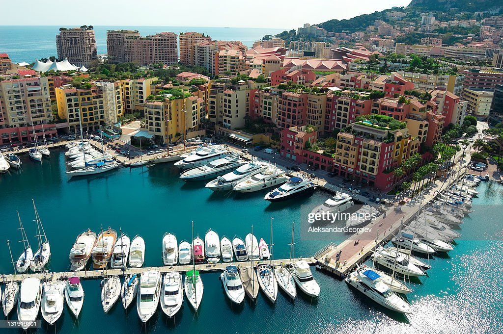Monaco harbor with yachts and speed boats